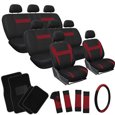 Car Accessories 25pc Set Red Black Auto VAN Seat Covers Wheel Pads Head Rests + Floor Mats 4B