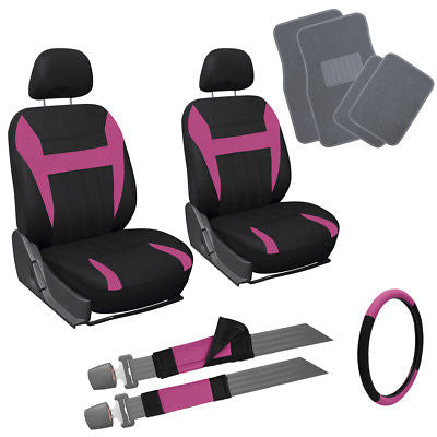 Car Accessories 13pc Pink Black Front Bucket SUV Seat Covers Set Wheel Belt Gray Floor Mats