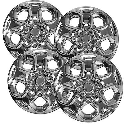 "Car Accessories 4 Pc Set of Steel Wheel Snap On CHROME 17"" Hub Caps 5 Spoke Skin for Ford Fusion"