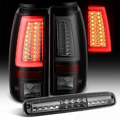 For 03-06 Silverado/Sierra Mystery Blk Smoke Optic Tube Tail Lights + LED 3rd