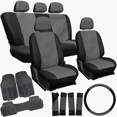 Car Accessories 20pc Faux Leather Gray Black Car Seat Cover Set + Heavy Duty Rubber Floor Mats