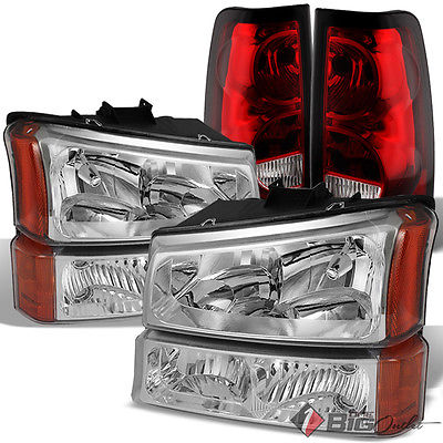 For 03-06 Silverado Headlights Bumper Set + Red Clear Tail Lights Brake Lamps
