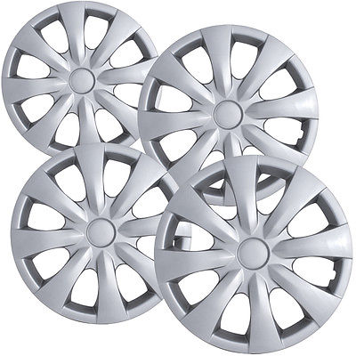 "Car Accessories 4 Piece Set A/M Silver ABS Fits 2008 2009 TOYOTA COROLLA 15"" Wheel Cover Hub Cap"