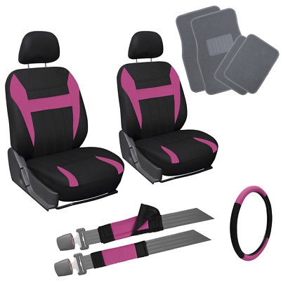 Car Accessories 13pc Pink Black Front Bucket SUV Seat Cover Set Wheel Belt Gray Floor Mats