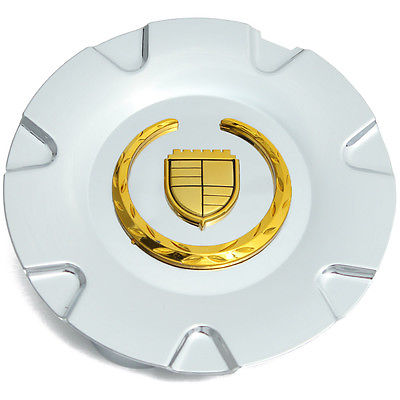 "Car Accessories 1 Piece Caddy SRX 18"" Gold Logo Center Caps Wheels Pop In Hub Cover"