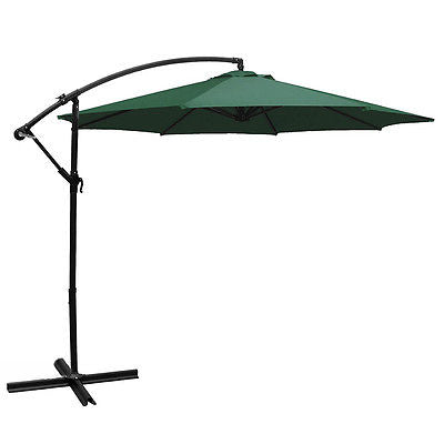 10'Ft Outdoor Patio Shade Umbrella Cantilever UV Resistant Hanging Offset, Green