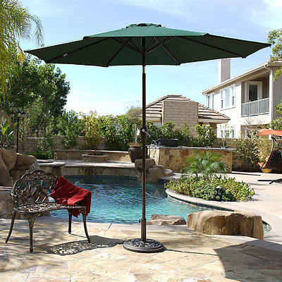 9 ft Outdoor Patio Garden Umbrella Market Yard Beach w/ Crank Tilt - (Green)