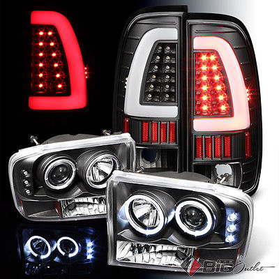 For 99-04 F250/350/450/550 Blk Projector Headlights + Light-Bar LED Tail Lights