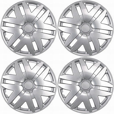 "Car Accessories 4 Pc Set of 15"" Inch Silver Hub Caps Full Lug Skin Rim Cover for OEM Steel Wheel"
