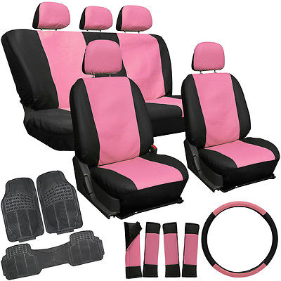 Car Accessories 20pc Faux Leather Pink Black SUV Seat Cover Set + Heavy Duty Rubber Floor Mats