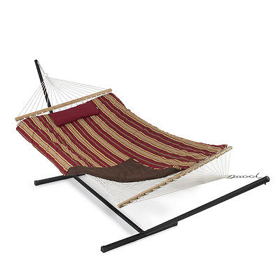 12 ft Rope Hammock Combo w/ Stand, Pad Pillow Tablet & Cup Holder Red/Tan Stripe