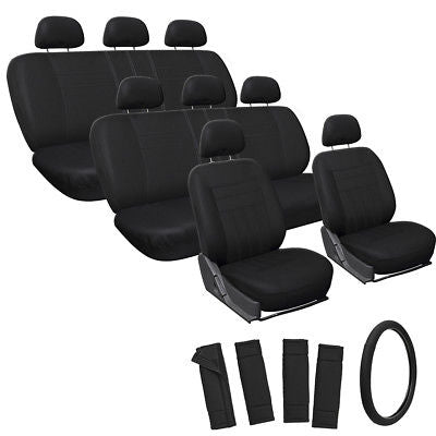 Car Accessories 25pc Full Set Solid Black SUV Seat Covers + Steering Wheel-Belt Pad-Head Rests