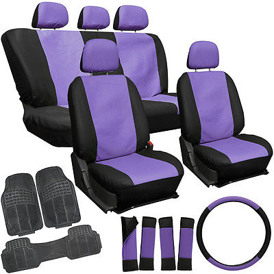 Car Accessories 20pc Faux Leather Purple Black Seat Cover Set + Heavy Duty Rubber Floor Mat 1E
