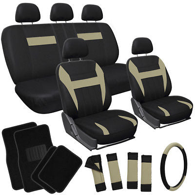 Car Accessories 21pc Set Tan Beige Brown Black SUV Seat Cover + Steering Wheel + Floor Mats