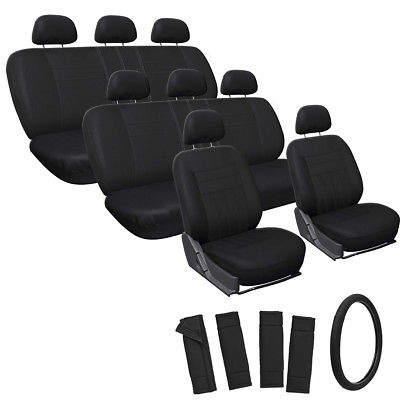 Car Accessories 25pc Full Set Solid Black Van Seat Covers FREE Steering Wheel Pads Head Rest