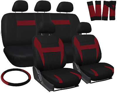 Car Accessories Car Seat Covers for Kia Soul Red & Black 17pc Steering Wheel/Belt Pad/Head Rests