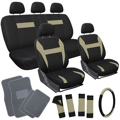 Car Accessories 20pc Beige Tan Black SUV Seat Covers Wheel + Pads + Head + gray Floor Mats 3E