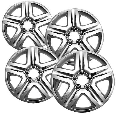 "Car Accessories 4 Pc CHROME Steel Wheel Snap On 16"" Hub Caps 5 LUG A/M Skin Cover"