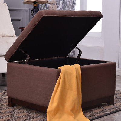 Modern Storage Ottoman Stool Footrest Coffee Tufted Linen Fabric Espresso Brown
