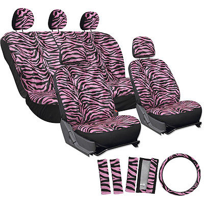 Car Accessories 17pc Pink Zebra Tiger Animal Print Complete SUV Seat Covers Full Set + Head Rest