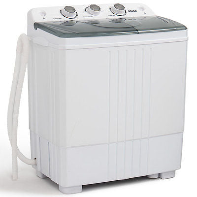 Portable Mini Washing Machine Compact Twin Tub 11lb Washer Spin & Dryer, White