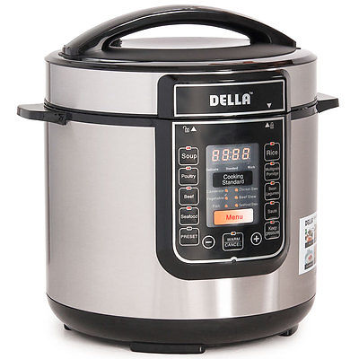 Stainless 1000 Watt 6-Quart Electric Instant Fast Programmable Pressure Cooker