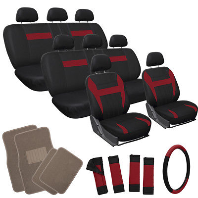 Car Accessories 25pc Set Red Black Auto VAN Seat Covers Wheel Pads Head Rest + Tan Floor Mat 4B