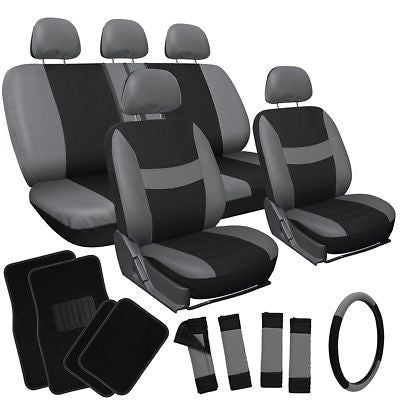 Car Accessories 21pc Set Gray Black Car Seat Cover w/Floor Mat/Steering Wheel/Belt Pad/Head Rest