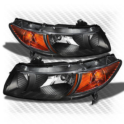 For 06-11 Civic 2dr Jdm Black Headlights Front Lamps L+R Replacement