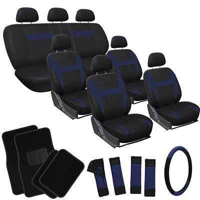Car Accessories 25pc Blue Black SUV Auto Seat Cover + Steering Wheel + Belt Pads + Floor Mats