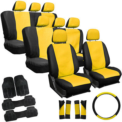 Car Accessories 29pc Full Set Yellow Black SUV Seat Covers Bucket Bench Wheel Mats Belt Pad 3B