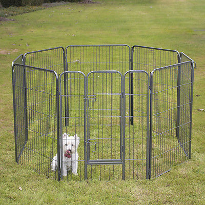 "24"" 32"" 40"" 48"" 8 Panel Heavy Duty Pet Playpen Dog Exercise Pen Fence Enclosure"