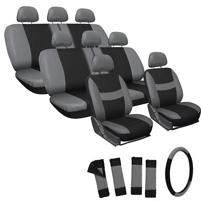 Car Accessories 25pc Set Gray Black VAN Seat Covers with Steering Wheel Belt Pads Head Rests