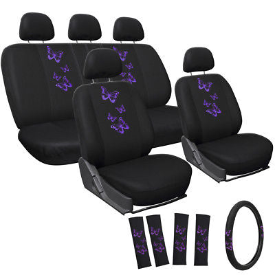 Car Accessories Car Seat Cover for Toyota Corolla 17pc Purple Butterfly Steering Wheel/Head Rest
