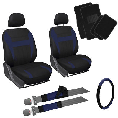 Car Accessories 13pc Front Bucket SUV Seat Covers Set Blue Black Wheel + Belt + Floor Mats 1E