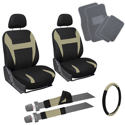Car Accessories 13pc Tan Black Front Bucket SUV Seat Covers Set Wheel Cover + Gray Floor Mats 1C