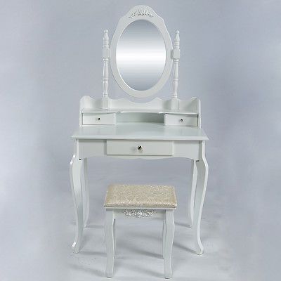 White Vanity Wood Desk Makeup Dressing Table Set w/Stool 4 Drawer&Mirror Jewelry
