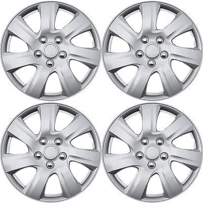 "Car Accessories 4 Piece Set Fit Silver ABS 2010 2011 2012 TOYOTA CAMRY 15"" Wheel Cover Hub Caps"