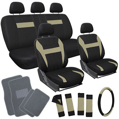 Car Accessories 20pc Set Beige Tan Black VAN Seat Covers Wheel + Pads + gray Floor Mats 4D