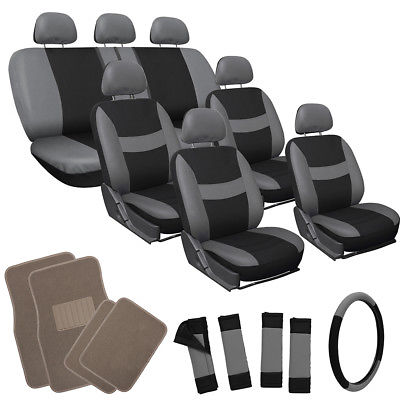 Car Accessories 26pc Complete Gray Black SUV Auto Car Seat Cover Set with Beige Tan Floor Mats