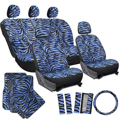Car Accessories 21pc Blue Zebra Print Car Seat Covers Set Floor Mats w/Steering Wheel Belt Pads