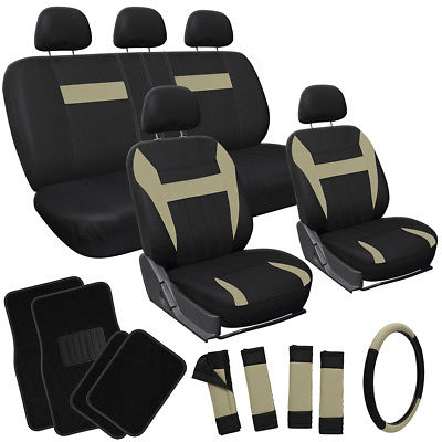 Car Accessories 21pc Set Tan Beige Brown Black SUV Seat Cover + Steering Wheel + Floor Mat
