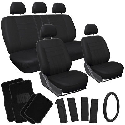 Car Accessories 21pc Set Solid Black Car Seat Cover + Steering Wheel/Pad+Heads Rests+ Floor Mats