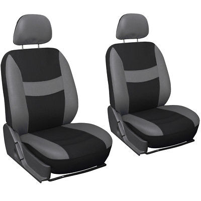 Car Accessories 13pc Gray Black Front Bucket SUV Seat Covers Set Wheel Cover + Tan Floor Mats 1B