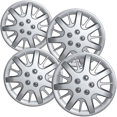 "Car Accessories 4 Pc Chevy Impala Steel Wheel Snap On SILVER 16"" Hub Caps 5 Spoke A/M Skin Cover"