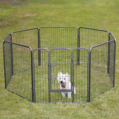 32̢‰â?À_ Dog Playpen Crate 8 Panel Fence Pet Play Pen Exercise Cat Puppy Kennel Cage