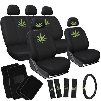 Car Accessories 21pc Green 420 Weed Marijuana Leaf Bucket Low Back Front Car Seat Cover + Mat 1D