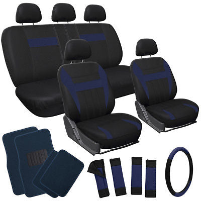 Car Accessories 20pc Set Black VAN Seat Covers Wheel + Pads + Head Rest + Blue Floor Mats 4D