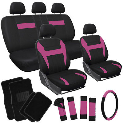 Car Accessories 21pc Set Pink Black Car Seat Covers/Floor Mat/Steering Wheel/Belt Pad/Head Rests