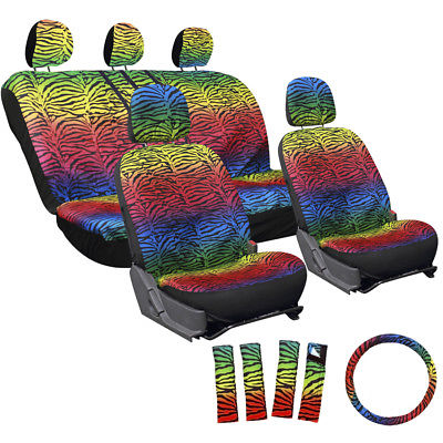 Car Accessories 17pc Set Rainbow Zebra Tiger Red Blue Green Yellow Complete Auto SUV Seat Covers